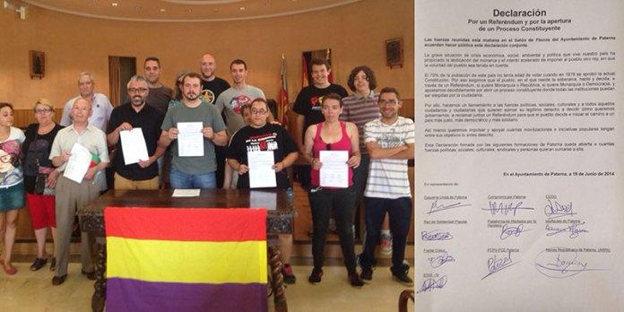 Imagen de los firmantes de la Declaración en el Salón de Plenos de Paterna