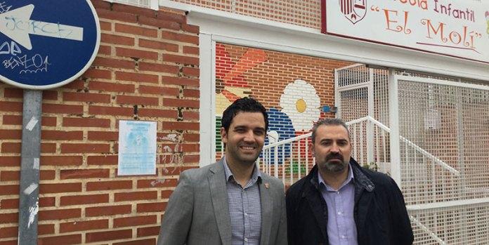 Sagredo y Mora durante su visita a la Escuela Infantil El Molí