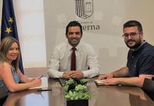 Sagredo, Pérez y Usina durante la reunión