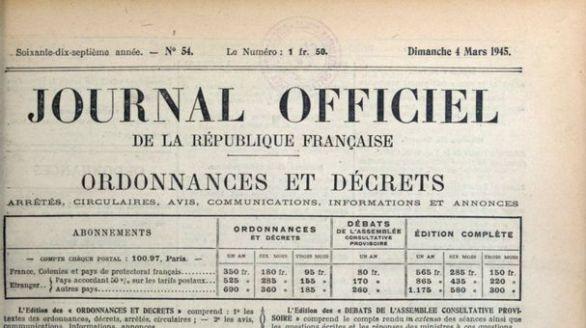 Journal officiel de la République française, nº 54, 4 mars 1945, p. 1129