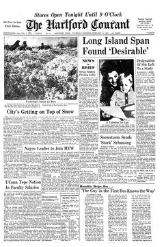 The Hartford Courant, vol. CXXXII, nº 44, 13/02/1969, p. 1