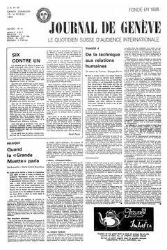 Journal de Genève, nº 38, 15/02/1969, p. 1