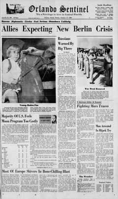Orlando Sentinel, vol. 84, nº 280, 17/02/1969, p. 1