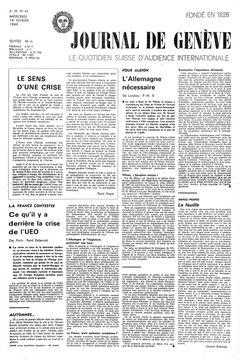 Journal de Genève, nº 41, 19/02/1969, p. 1