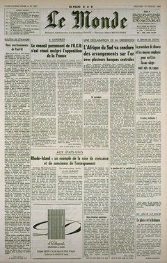 Le Monde, nº 7497, 19 février 1969, p. 1