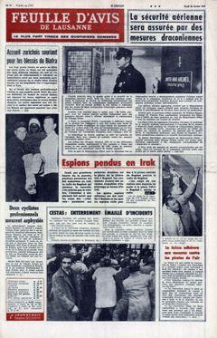 Feuille d'avis de Lausanne, nº 42, 20/02/1969, p. 1