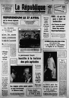 La République des Pyrénées, nº 7455, 20/02/1969, p. 1