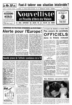 Nouvelliste et Feuille d'avis du Valais, nº 42, 20/02/1969, p. 1