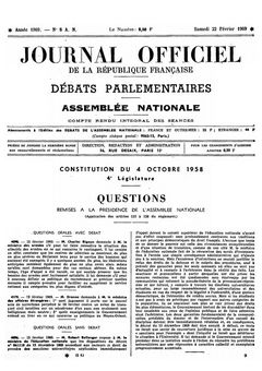 Journal officiel de la république française (Débats parlementaires, Assemblée nationale), n° 8 AN, 22 février 1969, p. 405