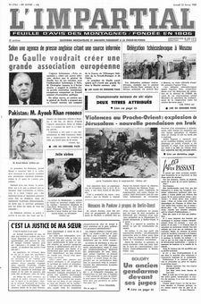 L'Impartial, nº 27964, 22 février 1969, p. 1