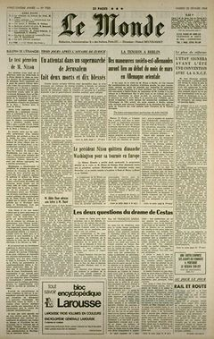 Le Monde, nº 7500, 22 février 1969, p. 1
