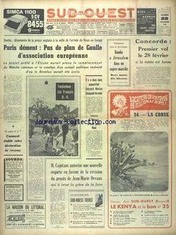 Sud-Ouest, nº 7618, 22 février 1969, p. 1