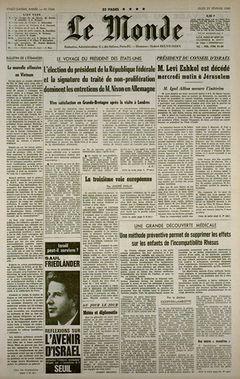 Le Monde, nº 7504, 26/02/1969, p. 1