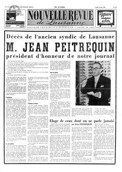 Nouvelle revue de Lausanne, nº 63, 17/03/1969, p. 1
