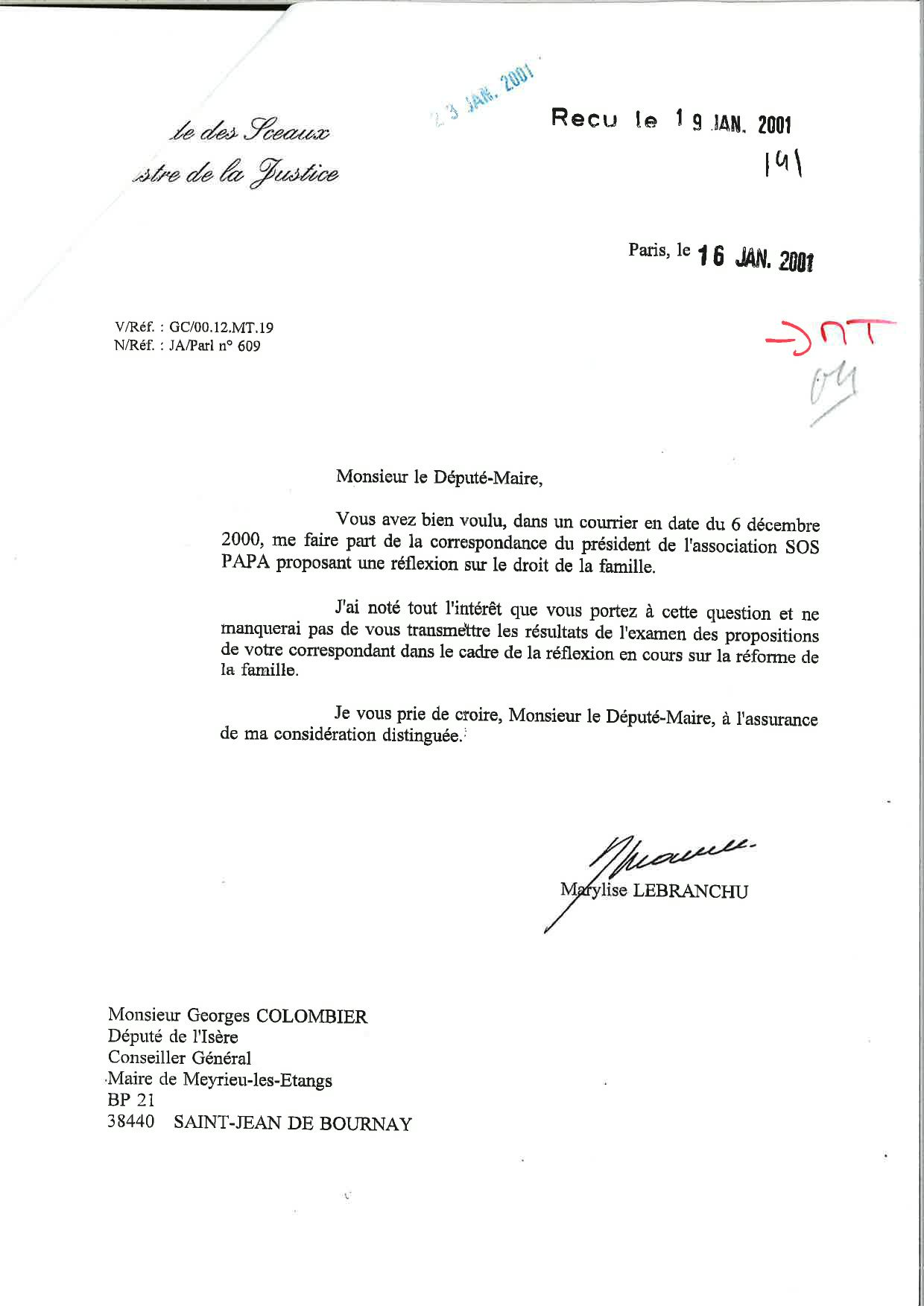 Courrier de Marylise Lebranchu à Georges Colombier, 16/01/2001