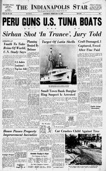 The Indianapolis Star, vol. 66, nº 255, 15 février 1969, p. 1