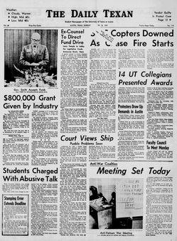 The Daily Texan, vol. 68, nº 113, 16 février 1969, p. 1