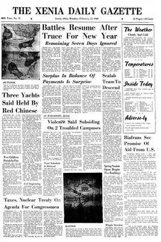 The Xenia Daily Gazette, nº 75, 17 février 1969, p. 1