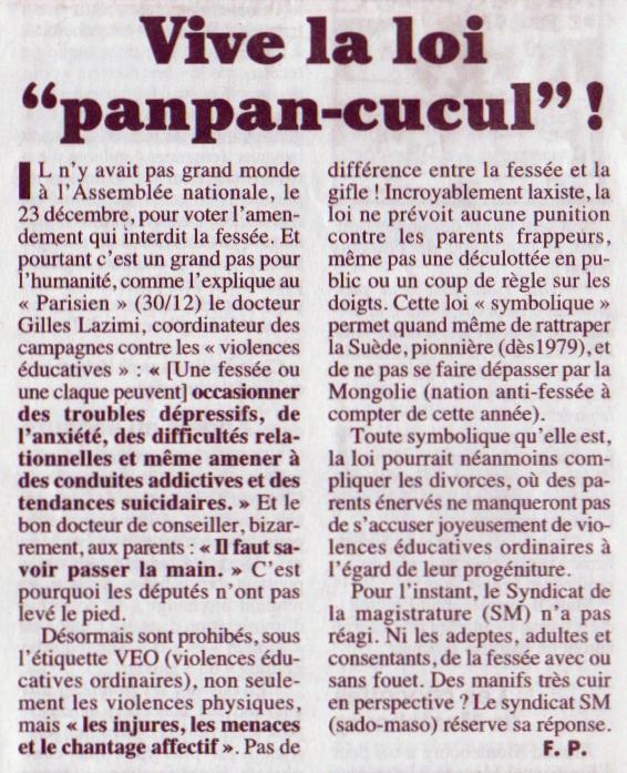 """Pagès (Frédéric), « Vive la loi """"panpan-cucul"""" ! », Le Canard enchaîné, nº 5019, 4 janvier 2017, p. 1"""