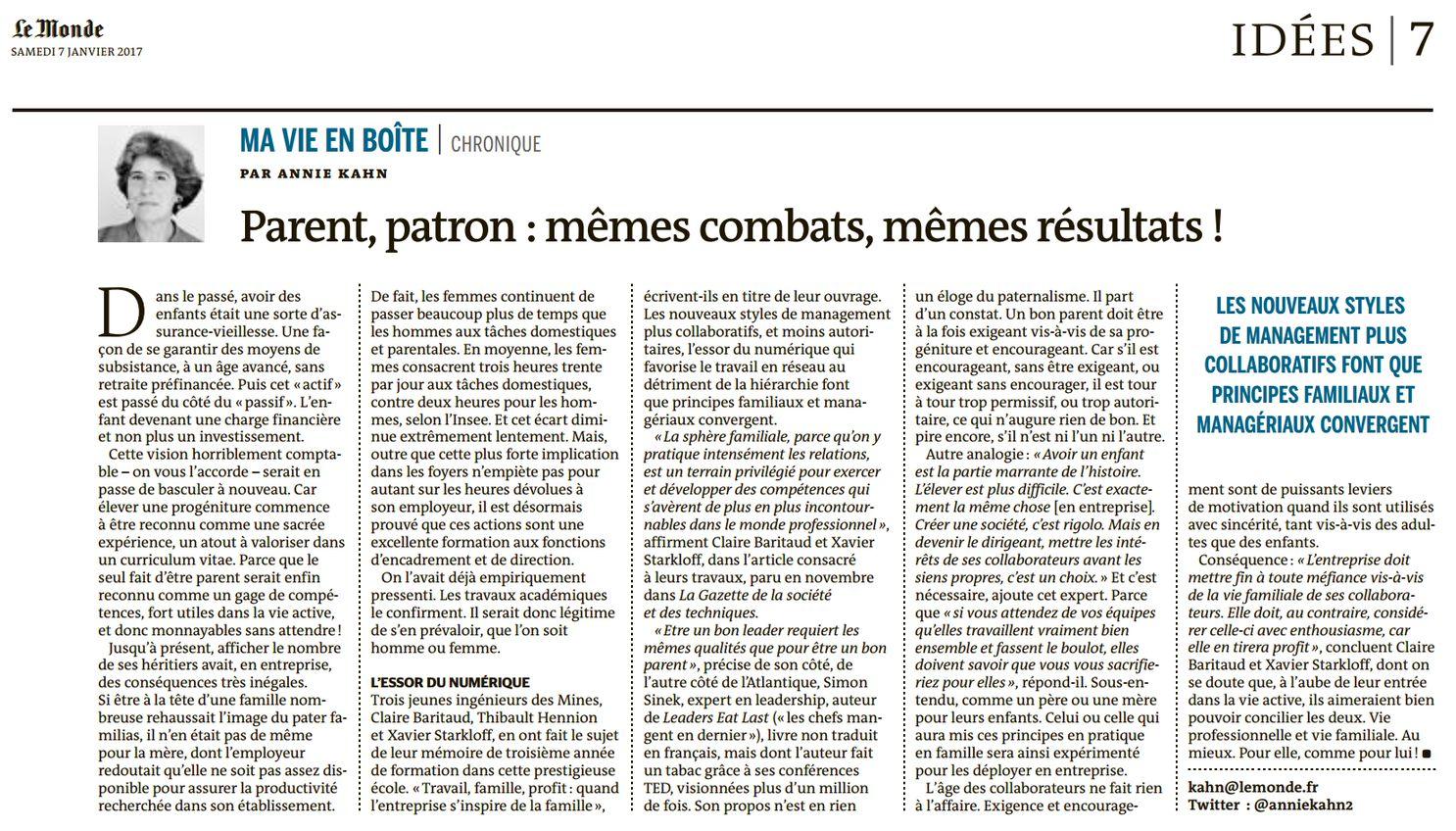Parent, patron : mêmes combats, mêmes résultats ! (Le Monde Éco & entreprise, nº 22390, 7 janvier 2017, p. 7)