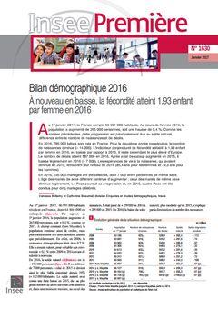 Beaumel (Catherine), Bellamy (Vanessa), « Bilan démographique 2016 », Insee Première, nº 1630, 17 janvier 2017