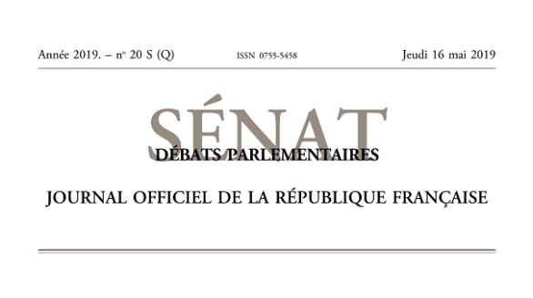 Journal officiel de la République française, édition « Débats parlementaires – Sénat », nº 20 S (Q), 16 mai 2019