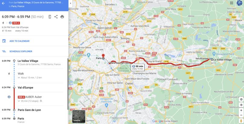 Como chegar, de Paris ao outlet perto da Disney Paris via RER - Google Maps
