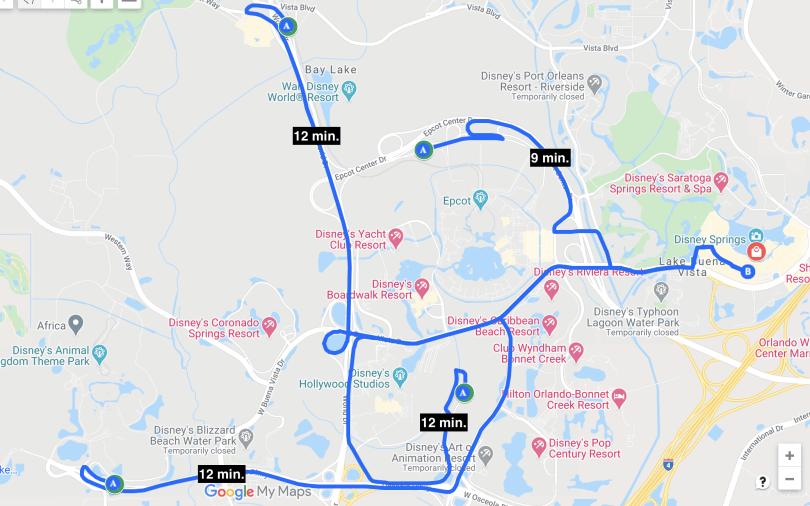 Mapa mostrando as distâncias, em minutos, dos 4 parques da Disney até o Disney Springs. Todos levam 12 minutos. Exceto o Epcot, que leva 3 minutos.