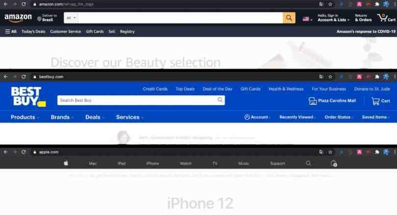 Imagem mostrando o início dos sites online da Amazon, Best Buy e Apple, as melhores lojas online para programar compras em Orlando.