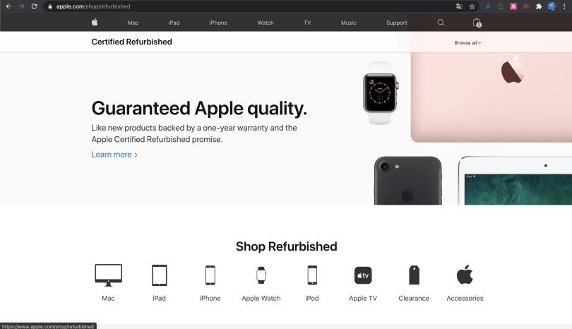 Print mostrando a área do site da apple.com com os refurbished products, uma das melhores dicas para comprar produtos da Apple em Orlando.