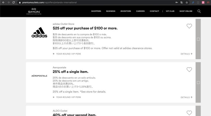 Print da tela da companhia proprietária dos Outlets de Orlando (simon) com exemplos de descontos que podem ser impressos para utilizar quando você estiver no Outlet.