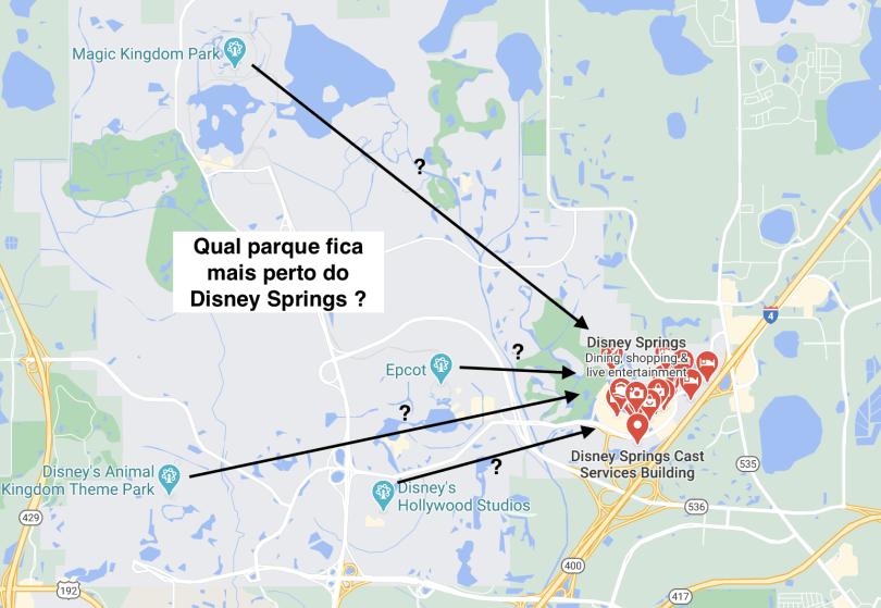 Imagem com Localização do Disney Springs com relação aos parques da Disney.