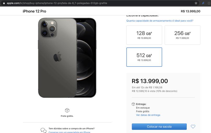 foto mostrando iphone max pro 12 de 512GB  para comprar no Brasil site da Apple por R$ 13.999 reais