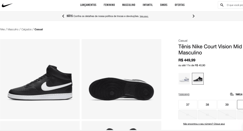 Foto do Nike Court Vision masculino com preço para comprar no Brasil, na loja da Nike: R$ 446,99
