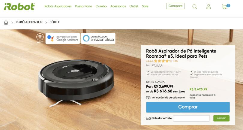 Print da tela da loja oficial da fabricante no Brasil mostrando preço do Roomba e5: R$ 3.699,00