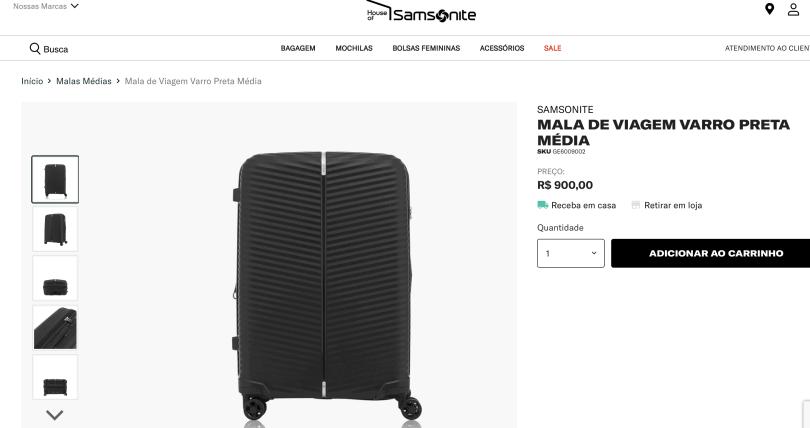 Print da loja oficial da samsonite com preço de modelo de mala da samsonite para comprar e receber no Brasil: R$ 900 reais