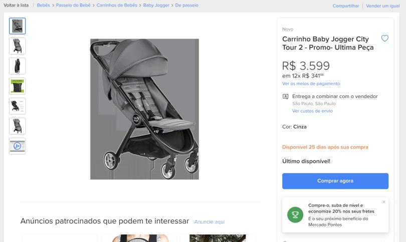 Print do Mercado Livre com preço de carrinho de bebê modelo Baby Jogger City Tour 2 para comprar em no Brasil: R$ 3.599.