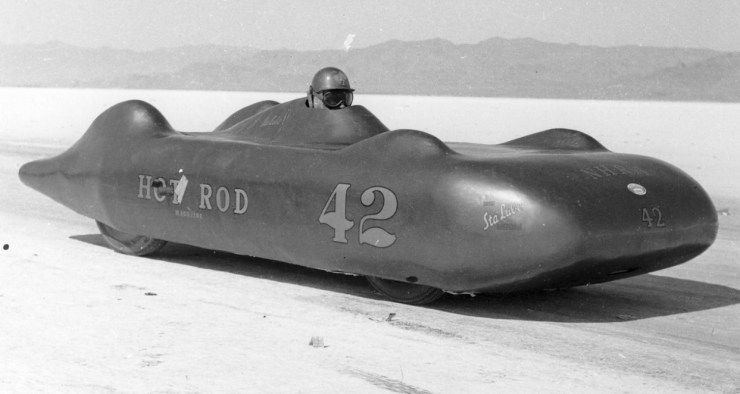 Dry lakes hot rod racing Bill Burke fiberglass