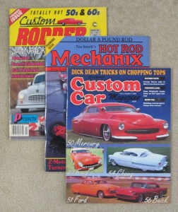 Custom Rodder, Hot Rod Mechanix, and Custom Car magazine covers