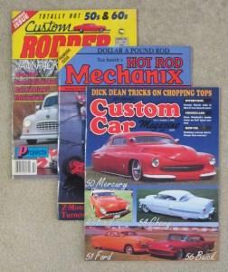 Custom Rodder, Hot Rod Mechanix, and Custom Car magazine covers