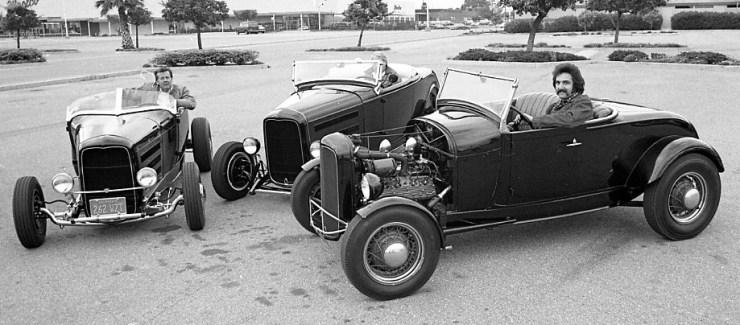 Tom Courtney, Dick Pickerel, and Tom Leonardo roadsters