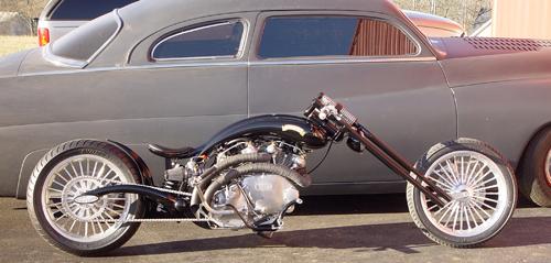 Vince Doll's chopped '51 Merc and chopper