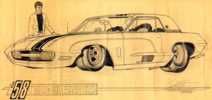 Charlie Smith artwork of '58 Thunderbird