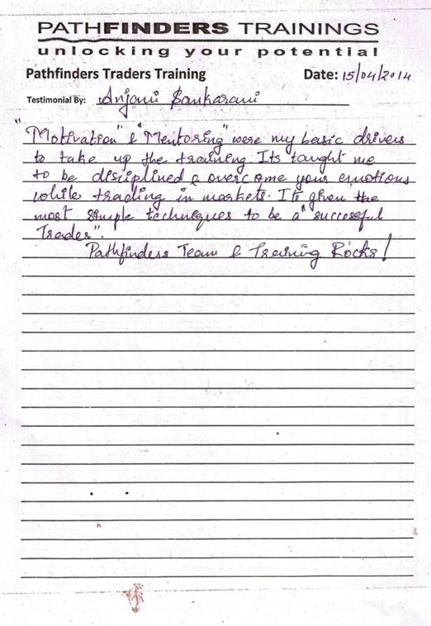 Testimonial By Ms. Anjani Sankarani – Student Pathfinders Traders Training April14 Andheri Batch