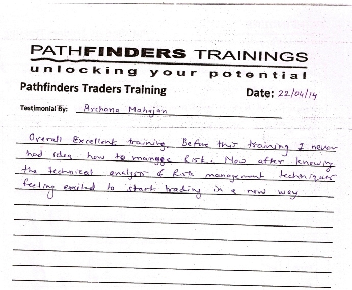 Testimonial By Ms. Archana Mahajan – Student Pathfinders Traders Training April14 Thane Batch