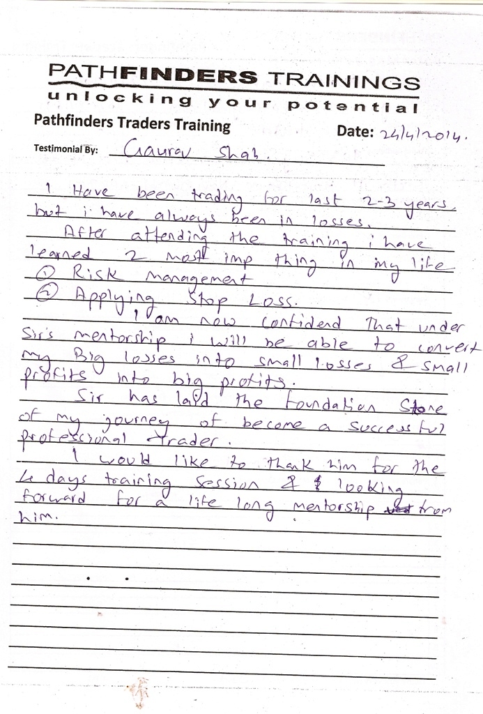 Testimonial By Mr. Gaurav Shah – Student Pathfinders Traders Training April14 Thane Batch
