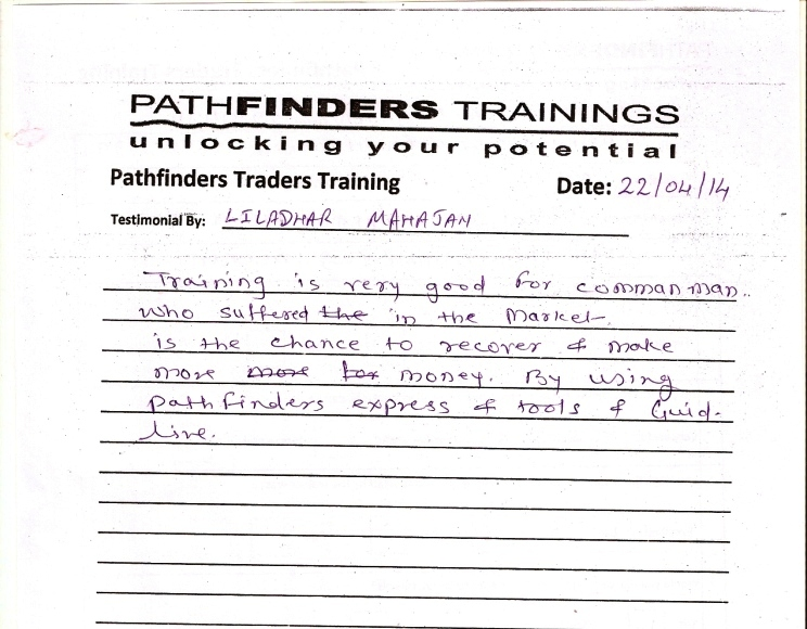 Testimonial By Mr. Liladhar Mahajan – Student Pathfinders Traders Training April14 Thane Batch