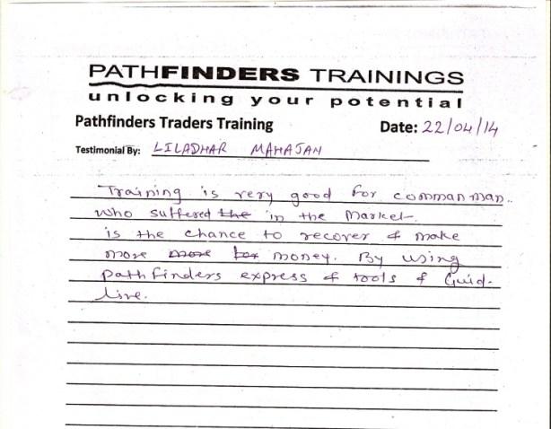 Testimonial By Mr. Liladhar Mahajan – Student Pathfinders Traders Training April14 Thane Batch
