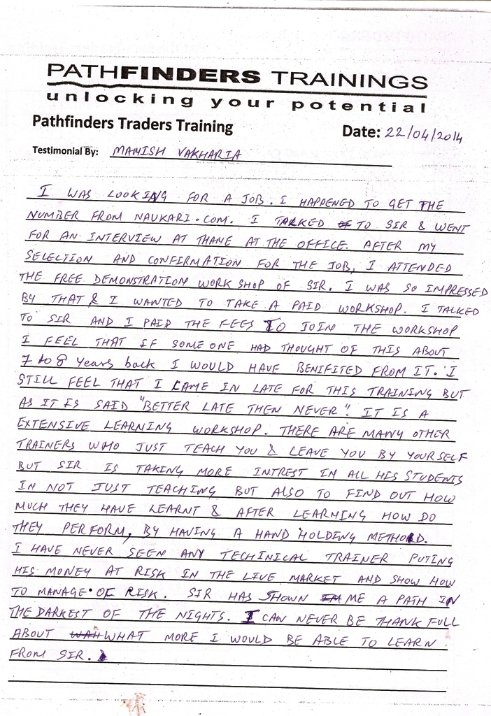 Testimonial By Mr. Manish Vakharia – Student Pathfinders Traders Training April14 Thane Batch