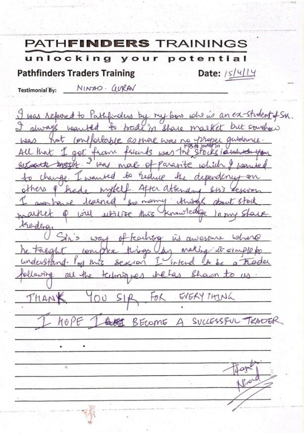 Testimonial By Mr. Ninad Gurav – Student Pathfinders Traders Training April14 Andheri Batch